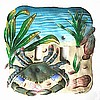 "Hand Painted Metal Switchplate - Blue Crab Decorative Switch Plate - Double - 7"" x 7"""