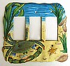 "Painted Metal Switch Plate - Triple Rocker Switchplate - Blue Crab Design - 7 1/2"" x 7"""