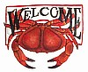 "Hand Painted Metal Red Crab Welcome Sign, Beach Decor, Coastal Wall Art, Nautical Decor - 15"" x 17"""