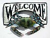 "Painted Metal Blue Crab, Nautical Welcome Sign, Coastal Decor, 15"" x 17"""