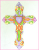 Cross Wall Hanging - Painted Metal Christian Cross, Decorative Christian Gift - 13""