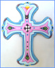 "Christian Cross Wall Hanging - Hand Painted Metal Wall Decor - 9 1/2"" x 12 1/2""."