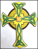 Celtic Cross, Painted Metal Wall Hanging, Christian Cross, Haitian Steel Drum Metal Art - 12 1/2""