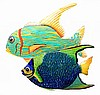 "Hand Painted Tropical Fish Wall Hanging - Metal Wall Art - Tropical Decor - 13"" x 17"""