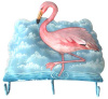 "Painted Metal Flamingo Wall Hook - Metal Towel Hook - Tropical Decor - 10"" x 10"""