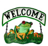 "Painted Metal Tree Frog Welcome Sign - Outdoor Metal Decor 10"" x 10"""