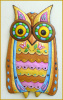 "Decorative Metal Owl Wall Hanging - Hand Painted Wall Decor - Funky Art - 15"" x 26"""