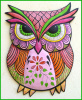 "Painted Metal Owl, Decorative Owl Wall Art, - Hand Painted Metal Wall Decor - Whimsical Art - Metal Art 17"" x 25"""