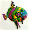 "Funky Tropical Fish Wall Decor - Hand Painted Metal Outdoor Garden Decor - 24"" x 28"""