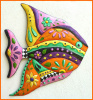 "Painted Metal Tropical Fish Wall Hanging, Outdoor Garden Decor, Beach Decor, Tropical Decor - 21"" x 25"""