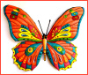"Decorative Butterfly Art - Painted Metal Art Outdoor Wall Decor -  Metal Wall Decor - 29"" x 36"""