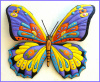 "Painted Metal Butterfly Metal Art - Indoor or Outdoor Patio Home Decor - 29"" x 36"""