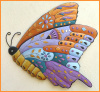 Butterfly Garden Decor, Hand Painted Metal Butterfly Wall Hanging - Whimsical Wall Art - 24""