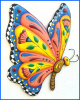 Decorative Butterfly Wall Hanging - Hand Painted Metal Butterfly Tropical Decor -Garden Art. 24""