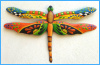 Garden Art, Painted Metal Dragonfly Wall Hanging - Handcrafted Tropical Wall Art - 24""