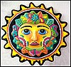 Painted Metal Sun Garden Art, Tropical Home Decor, Pool Decor, Patio Decor, Haitian Metal Art - 34""