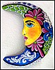 "Blue & Magenta Moon Design - Painted Metal Garden Wall Decor - 19"" x 24"" -"