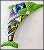 "Decorative Dolphin Wall Hanging - Hand Painted Metal Tropical Garden Wall Decor -14"" x 24"""