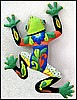 "Green Frog Patio Art - Painted Metal Tropical Garden Wall Decor - 18"" x 24"""
