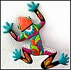 "Handcrafted Frog Wall Hanging - Brightly Hand Painted Metal Caribbean Garden Art - 18"" x 24"""