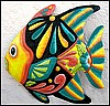 "Tropical Fish, Painted Metal Decorative Wall Hanging, Haitian Metal Art - 17"" x 17"""