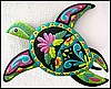 "Turtle - Tropical Decor, Hand Painted Metal Turtle Wall Decor in Bright Caribbean Colors - 29"" x 34"""