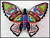 "Decorative Butterfly Wall Hanging - Hand Painted Metal Tropical Garden Decor - 19"" x 24"""