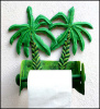 "Toilet Paper Holder -Tropical Banana Tree - Hand Painted Metal Bathroom Decor - 8 1/2"" x 11"