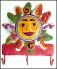 "Sun Wall Hook - Painted Metal Art- Haitian Recycled Steel Drum Art - 11 1/2"" x 10"""