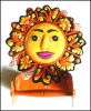 "Painted Metal Orange Sun Toilet Paper Holder - Bathroom Décorating - 10"" x 11"""