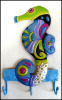 "Painted Metal Seahorse Bathroom Wall Hook, Coastal Wall Decor, Towel Hook - 8"" x 14"""