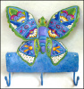 "Blue Butterfly Wall Hook, Painted Metal Hook, Tropical Decor - 10"" x 11"""