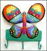 "Hand Painted Metal Butterfly Wall Hook - Bathroom Decor - 10 1/2"" x 11"""