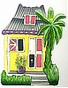 Caribbean House Light Switchplate Cover - Painted Metal Tropical Switch Plate