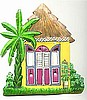 Caribbean House Light Switchplate Cover - Painted Metal Tropical Decor