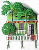 "Painted Metal Green Caribbean House w/ Palm Trees Wall Hook - Tropical Home Decor - 13"" x 17"""