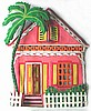 "Gingerbread House Tropical Wall Decor - Caribbean Tropical Home Design - 12"" x 14"""