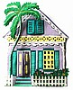 "Tropical House Wall Decor, Painted Metal Gingerbread House, Haitian Metal Art, 12"" x 14"""