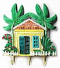 "Hand Painted Cottage Wall Hook - Caribbean Island Decor - Tropical Design- 11"" x 13"""