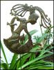 "Handcrafted Garden Metal Plant Stake - Girl with Birds - Outdoor Yard Decor - Haitian Recycled Steel Drum - 11"" x 14"":"