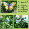 Outdoor Garden Decor Markers, Painted Metal Plant Sticks, Decorative Garden Plant Stake, Butterfly. Frog. Dragonfly - Pkg #2