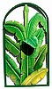 "Banana Leaves Wall Panel - Painted Metal Art,  Tropical Decorative Design - 20"" x 36"""