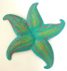 Painted Metal Turquoise Shell Wall Hanging - 9""