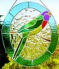 "Parrot Stained Glass Suncatcher - Tropical Decoration - 10"" x 12"""