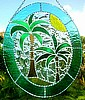 "Palm Tree - Coconut Tree Sun Catcher - Tropical Stained Glass Design - 10"" x 12"""