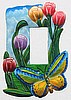 Butterfly Rocker Light Switch Plate Cover - Painted Metal Decorative Light Switch