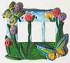 Butterfly Light Switch Plate Cover - Painted Metal -  Triple Rocker Switchplate