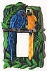 Painted Metal Tropical Parrots Decorative Single Switchplate Cover