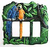 Painted Parrot Switchplate Cover - Haitian Metal Art -Tropical Decor