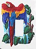 Painted Metal Scarlet Macaw Parrot Rocker Switchplate Cover - Tropical Decor